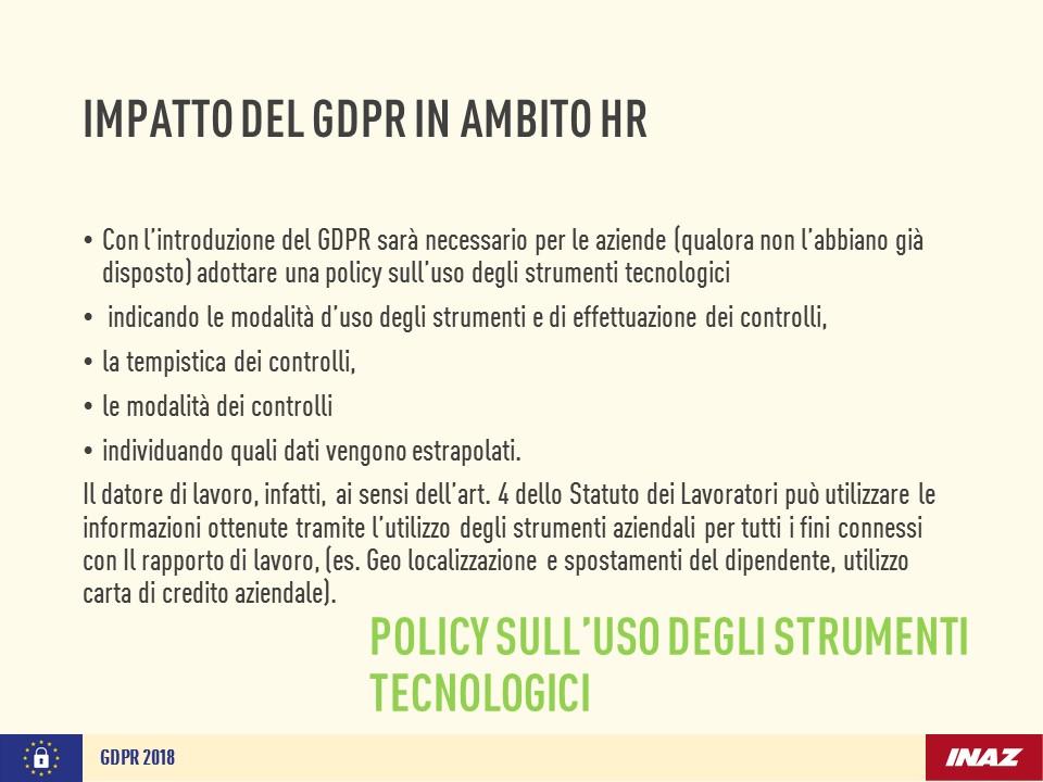 Impatto del GDPR in ambito HR: policy