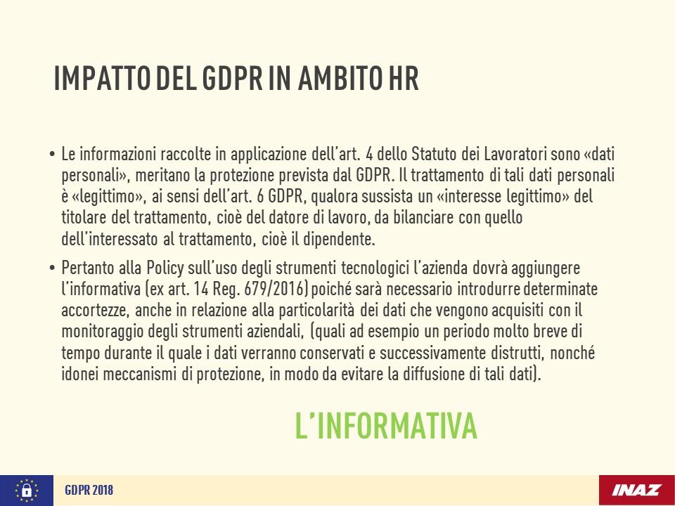 Impatto del GDPR in ambito HR: informativa