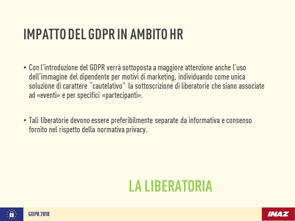 Impatto del GDPR in ambito HR: liberatoria