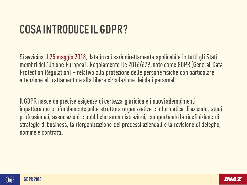 Cosa introduce il GDPR